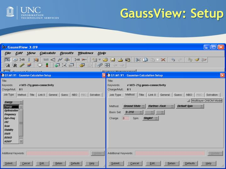 GaussView: Setup