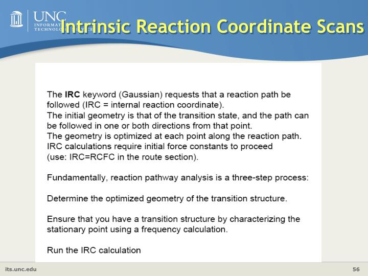 Intrinsic Reaction Coordinate Scans
