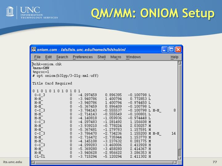 QM/MM: ONIOM Setup