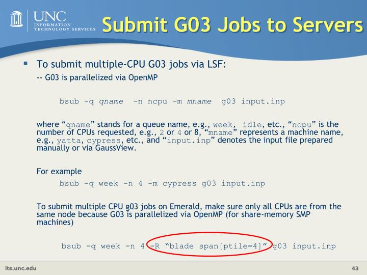 Submit G03 Jobs to Servers