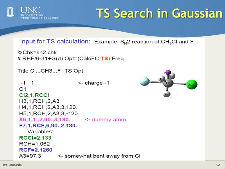 TS Search in Gaussian