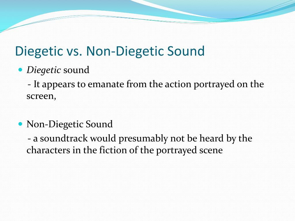 differences between diegetic and non diegetic sound The difference between the sounds and the relation to my media product diegetic and non diegetic sounds 1 diegetic and non-diegetic sounds 2.