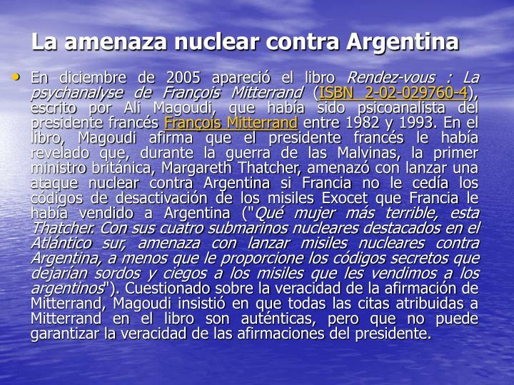 La amenaza nuclear contra Argentina