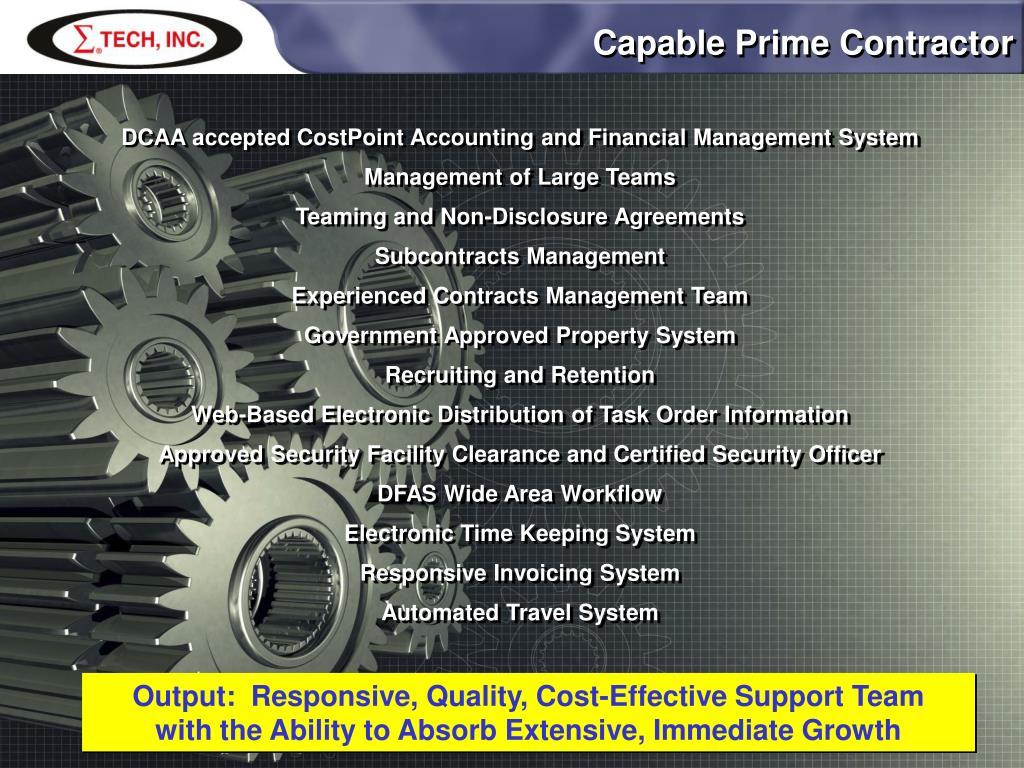 Capable Prime Contractor