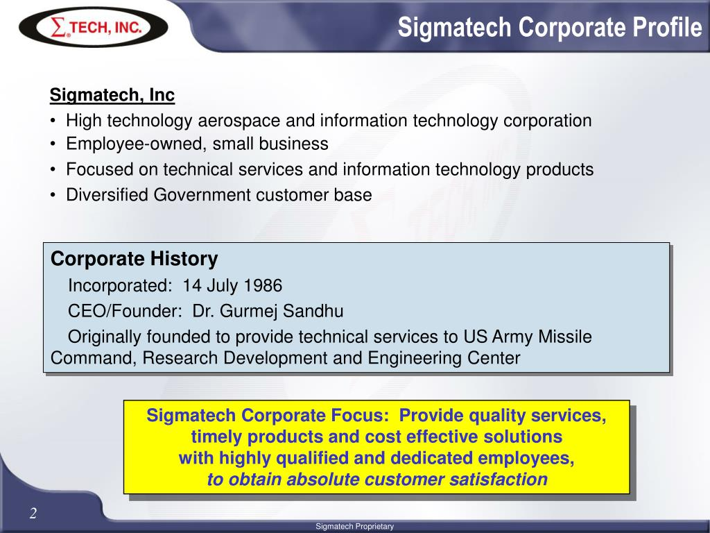 Sigmatech Corporate Profile