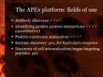 the apex platform fields of use