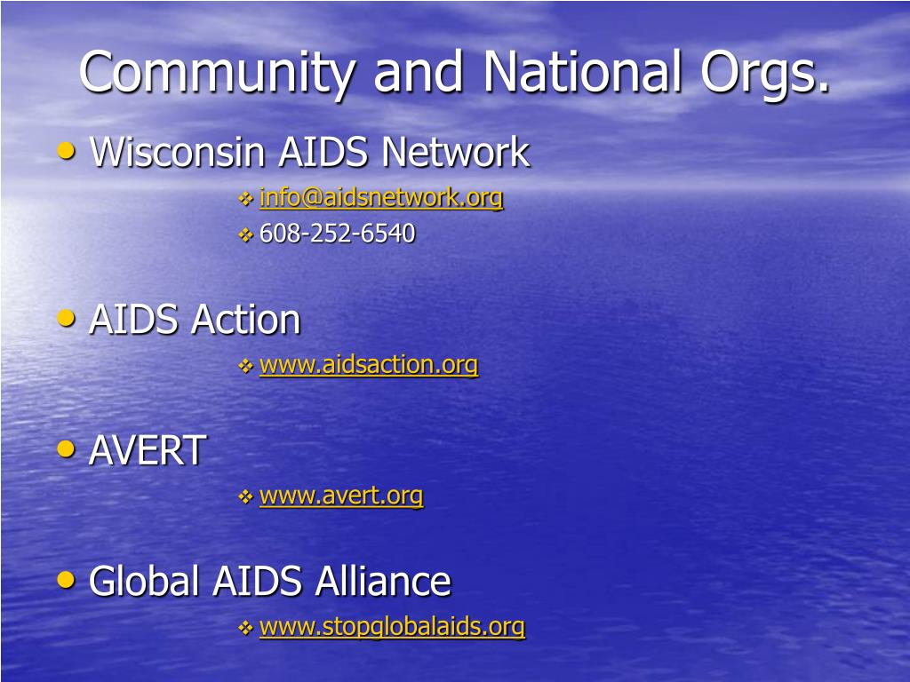 Community and National Orgs.