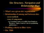 site structure navigation and relationship maps
