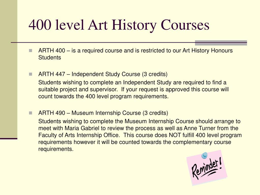 400 level Art History Courses