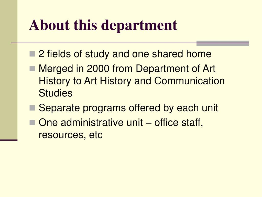 About this department