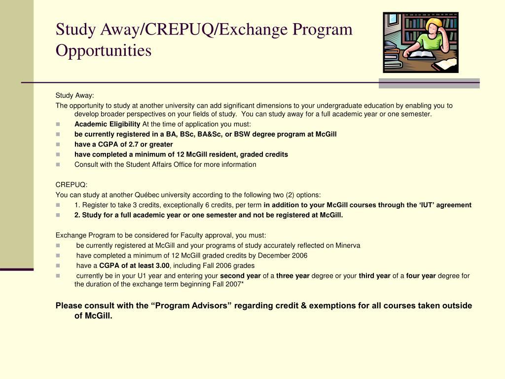 Study Away/CREPUQ/Exchange Program