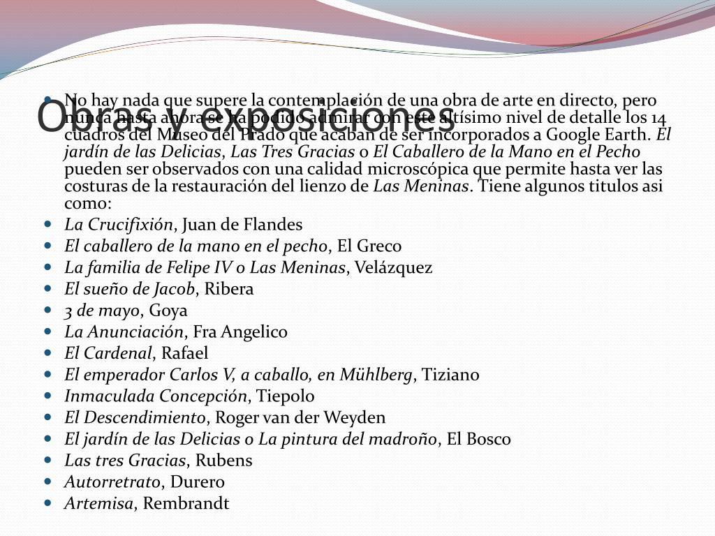 Obras y exposiciones