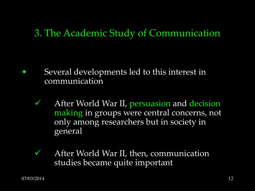 3. The Academic Study of Communication