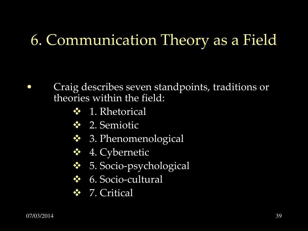 6. Communication Theory as a Field