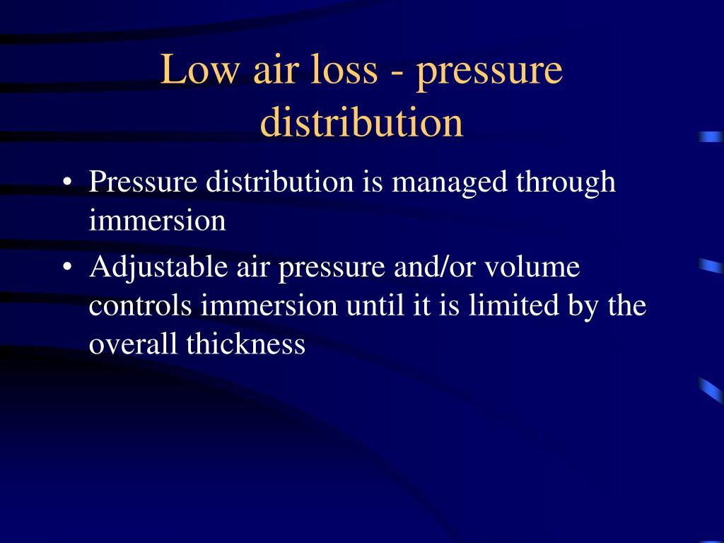 Low air loss - pressure distribution