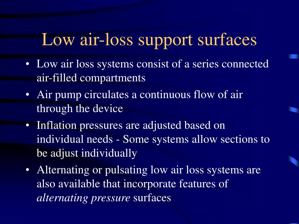 Low air-loss support surfaces