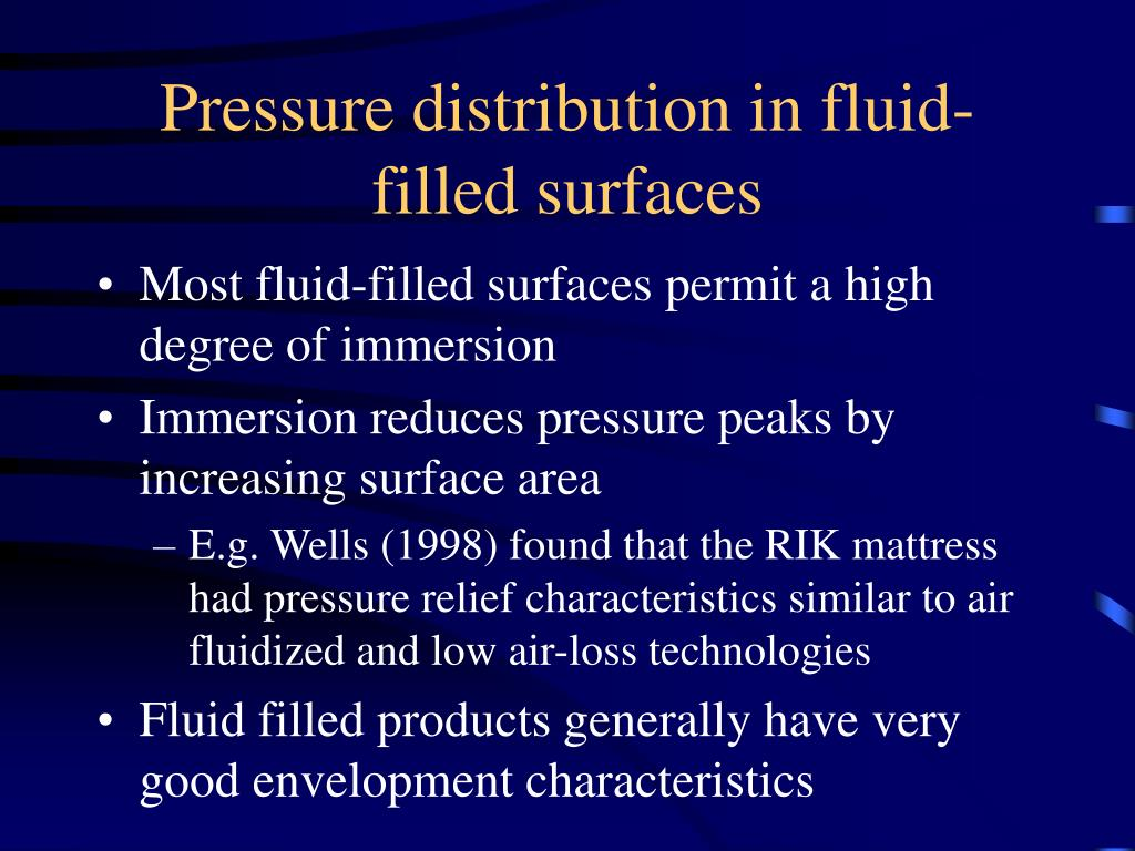 Pressure distribution in fluid-filled surfaces
