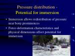 pressure distribution potential for immersion