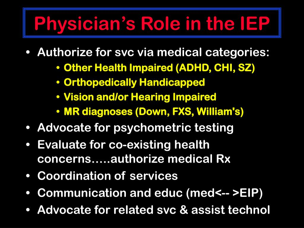 Physician's Role in the IEP
