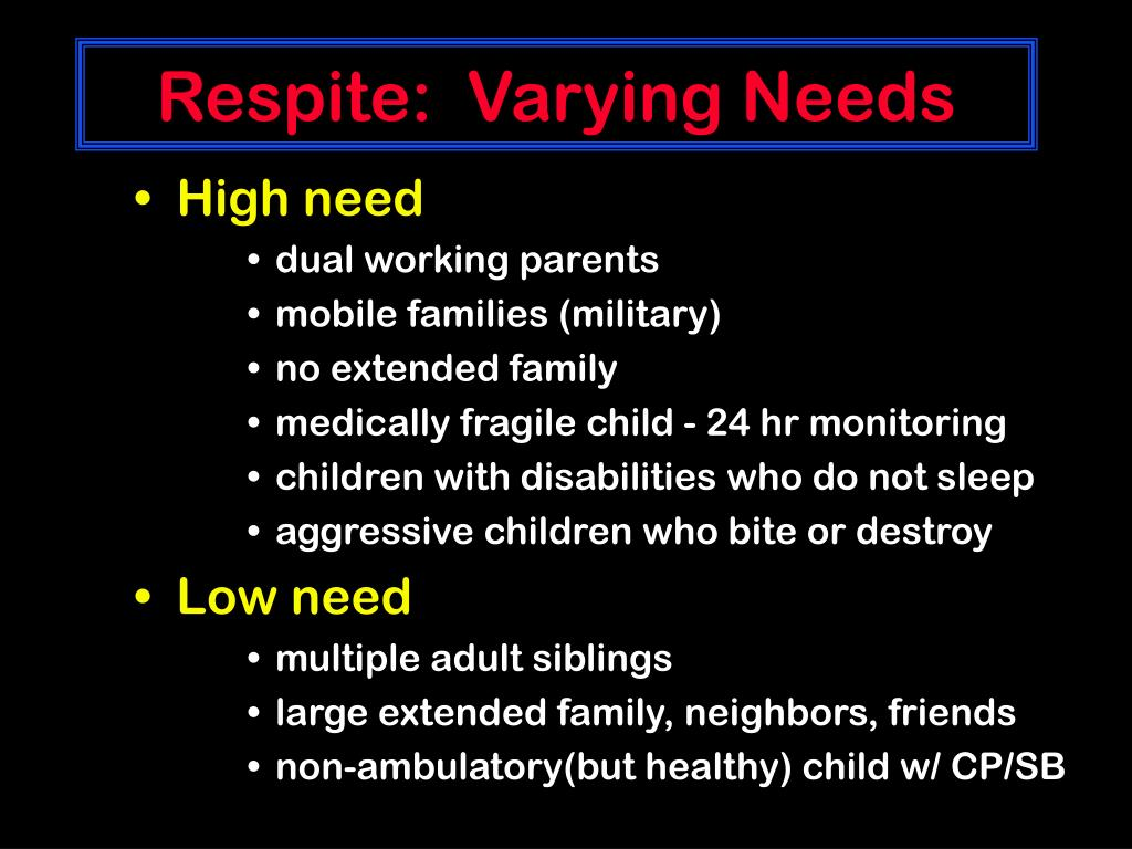 Respite:  Varying Needs