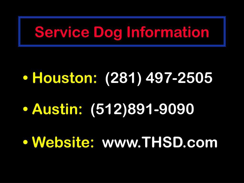 Service Dog Information