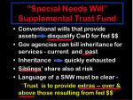 special needs will supplemental trust fund