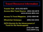 travel resource information
