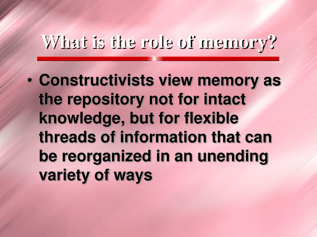 What is the role of memory?