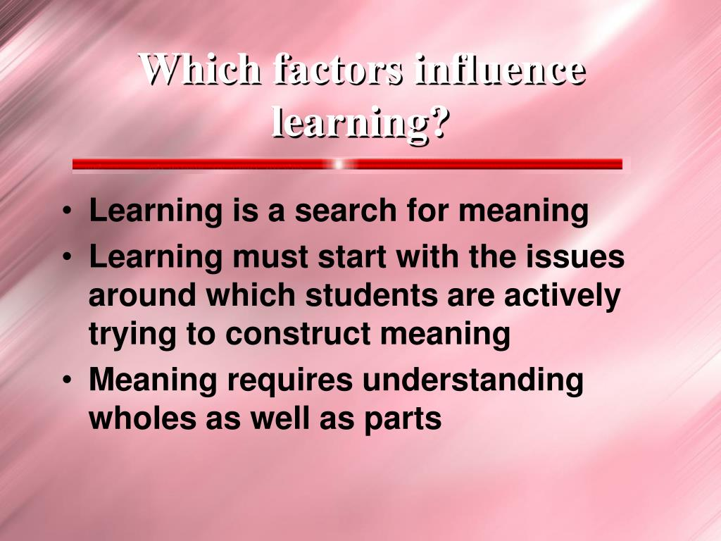 Which factors influence learning?