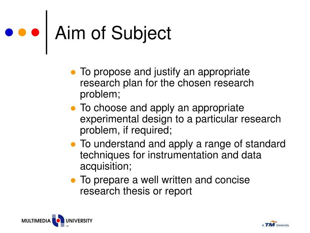 Aim of Subject