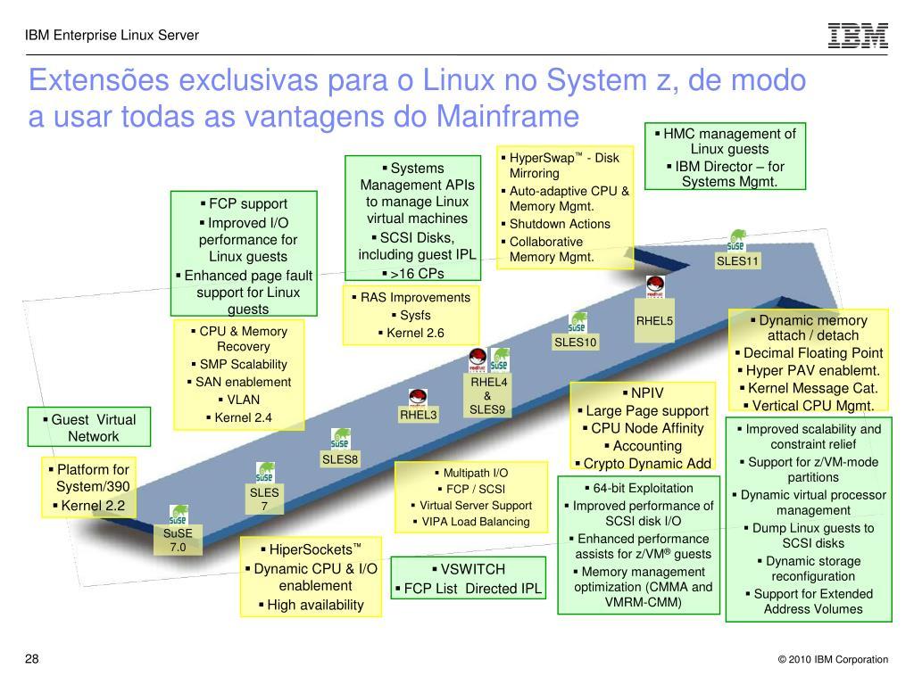 Extensões exclusivas para o Linux no System z, de modo a usar todas as vantagens do Mainframe
