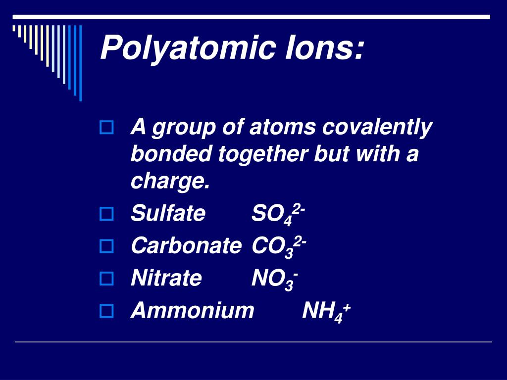 Polyatomic Ions: