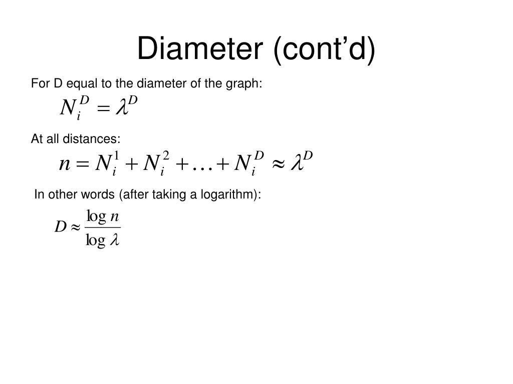 Diameter (cont'd)