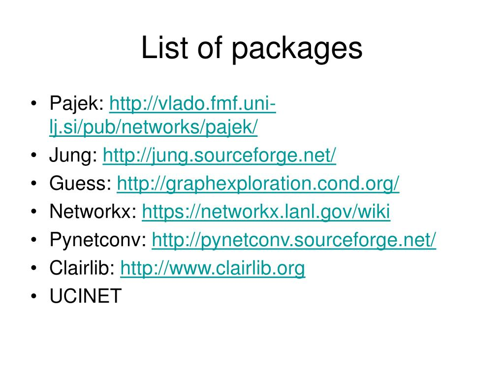 List of packages