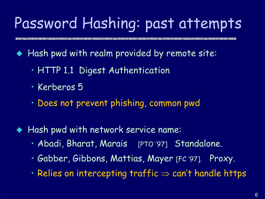 Password Hashing: past attempts