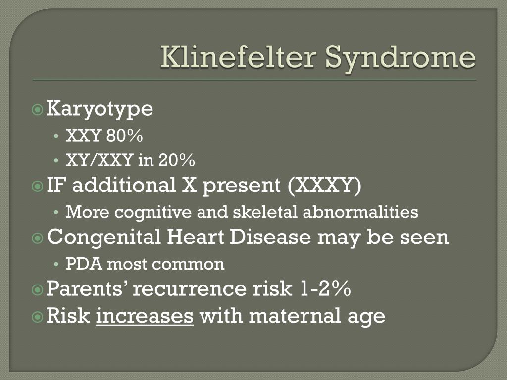 analysis of klinefelters syndrome Summary klinefelter syndrome (ks) is a condition that occurs in men who have an extra x chromosome the syndrome can affect different.