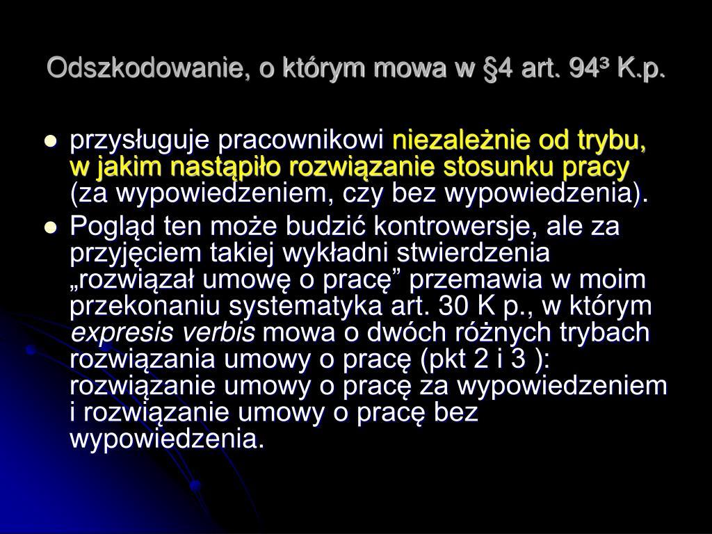 Odszkodowanie, o którym mowa w §4 art. 94³ K.p.