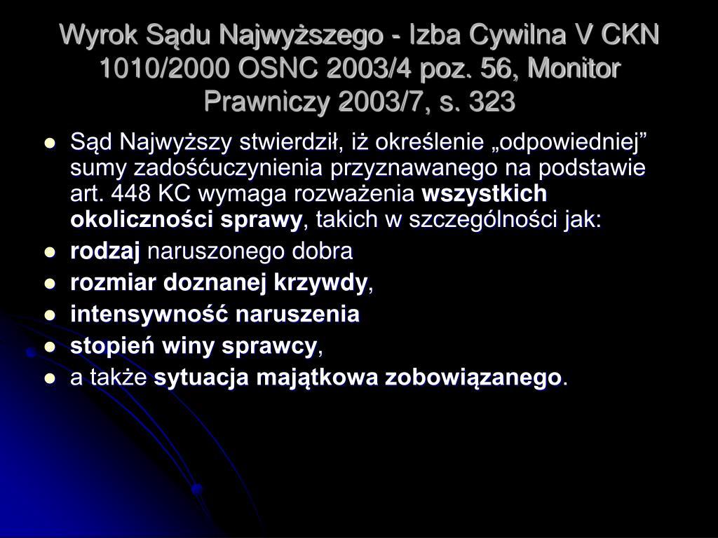 Wyrok Sądu Najwyższego - Izba Cywilna V CKN 1010/2000 OSNC 2003/4 poz. 56, Monitor Prawniczy 2003/7, s. 323