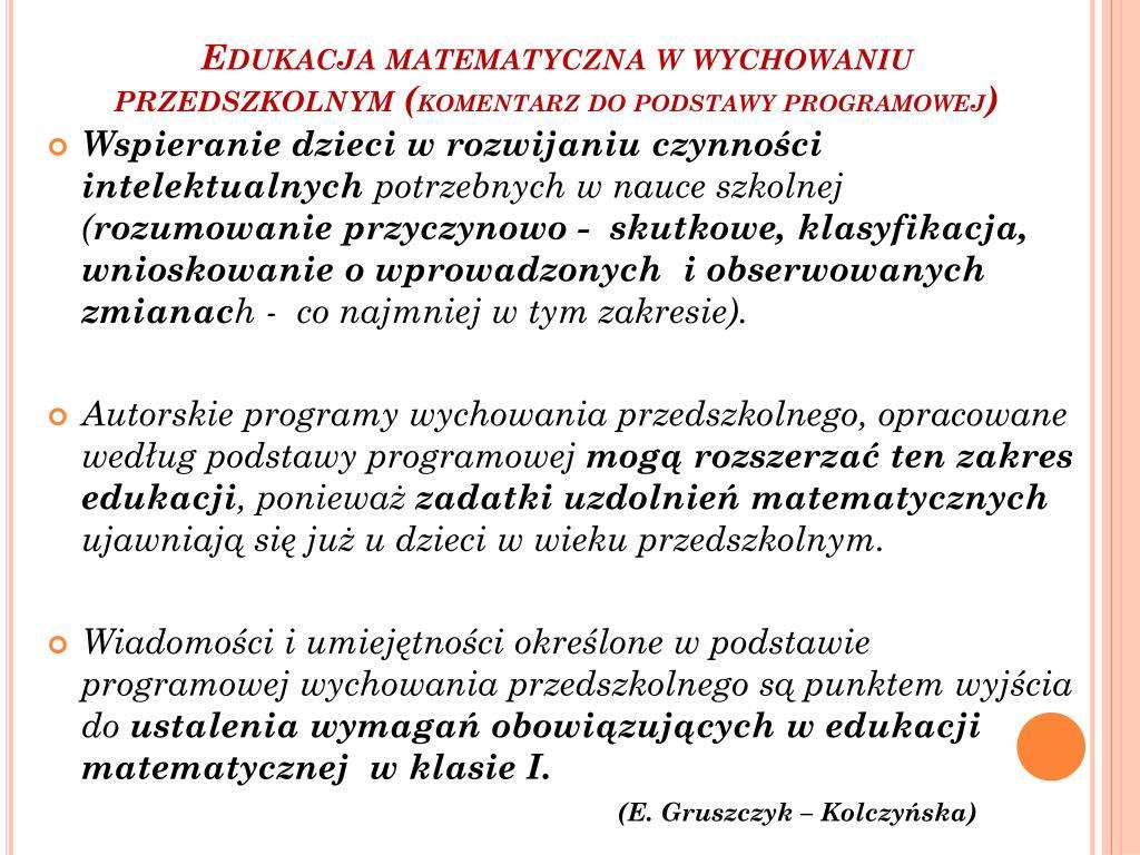 Edukacja matematyczna w wychowaniu przedszkolnym (