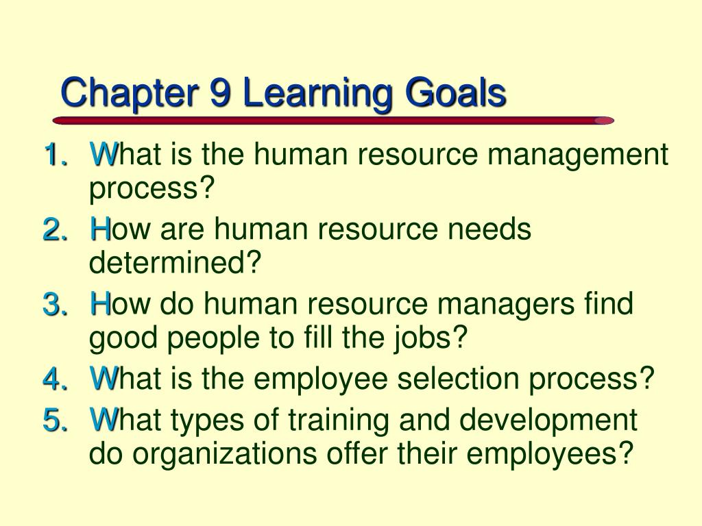 Chapter 9 Learning Goals