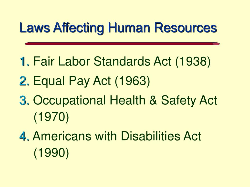 Laws Affecting Human Resources