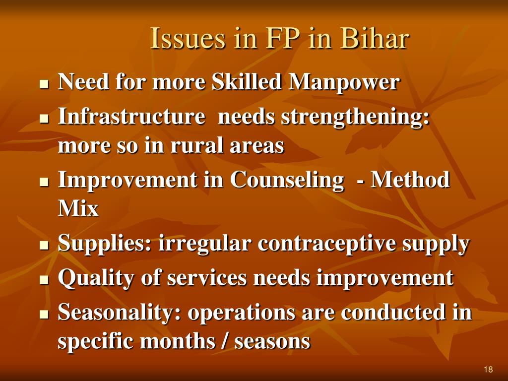 Issues in FP in Bihar