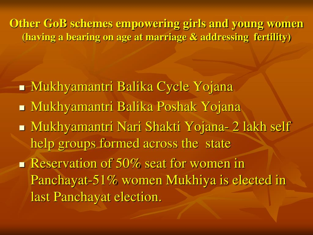 Other GoB schemes empowering girls and young women