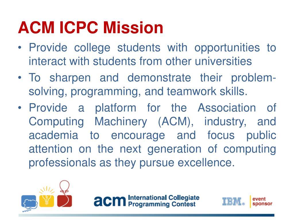 ACM ICPC Mission