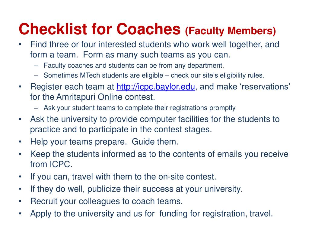 Checklist for Coaches