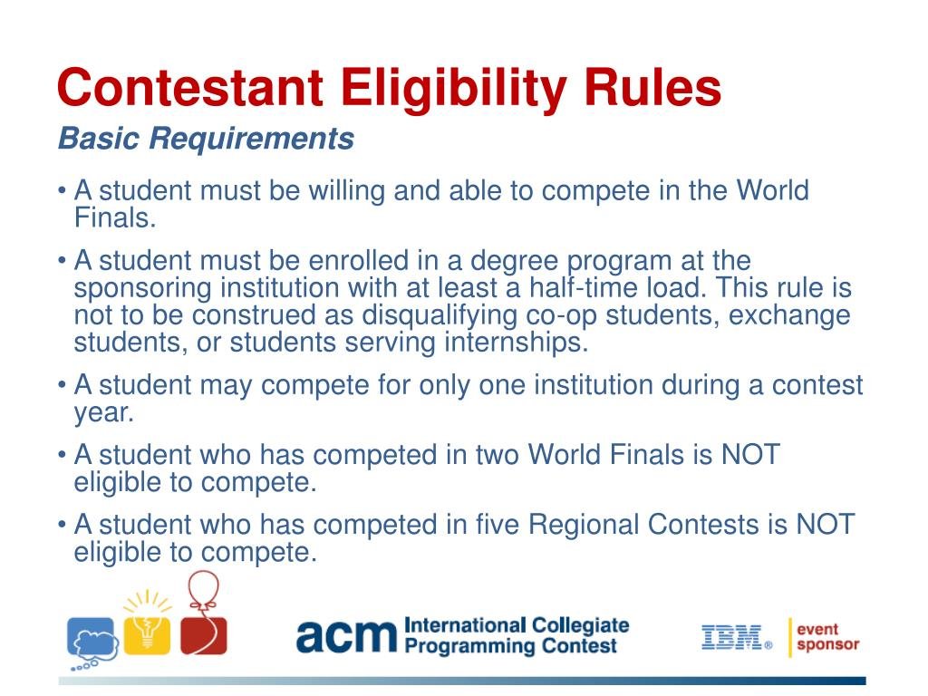 Contestant Eligibility Rules