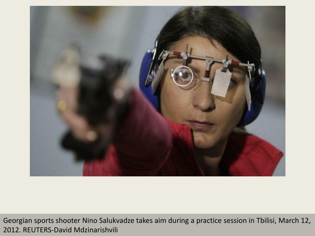 Georgian sports shooter Nino Salukvadze takes aim during a practice session in Tbilisi, March 12, 2012. REUTERS-David Mdzinarishvili