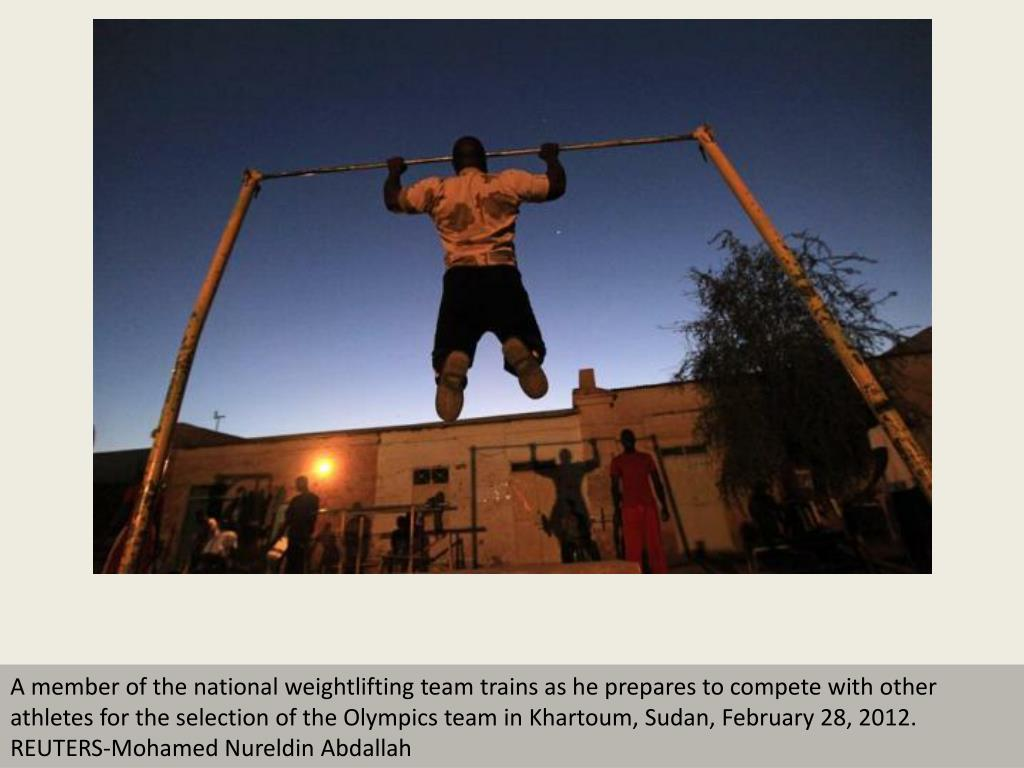 A member of the national weightlifting team trains as he prepares to compete with other athletes for the selection of the Olympics team in Khartoum, Sudan, February 28, 2012. REUTERS-Mohamed Nureldin Abdallah