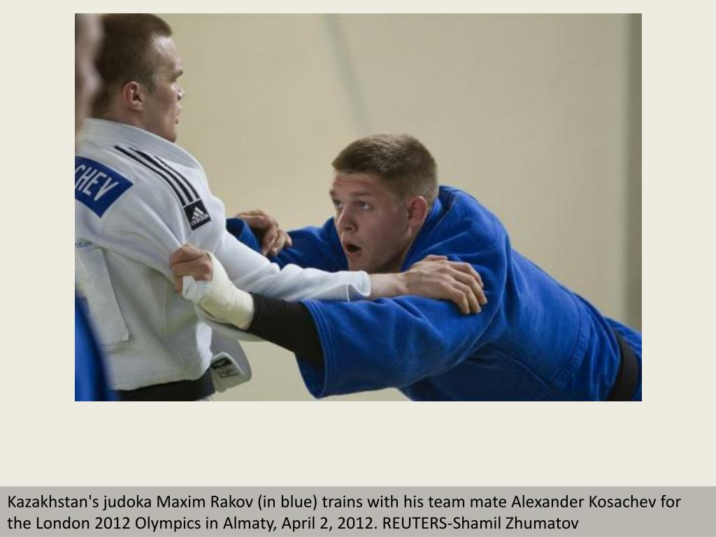 Kazakhstan's judoka Maxim Rakov (in blue) trains with his team mate Alexander Kosachev for the London 2012 Olympics in Almaty, April 2, 2012. REUTERS-Shamil Zhumatov