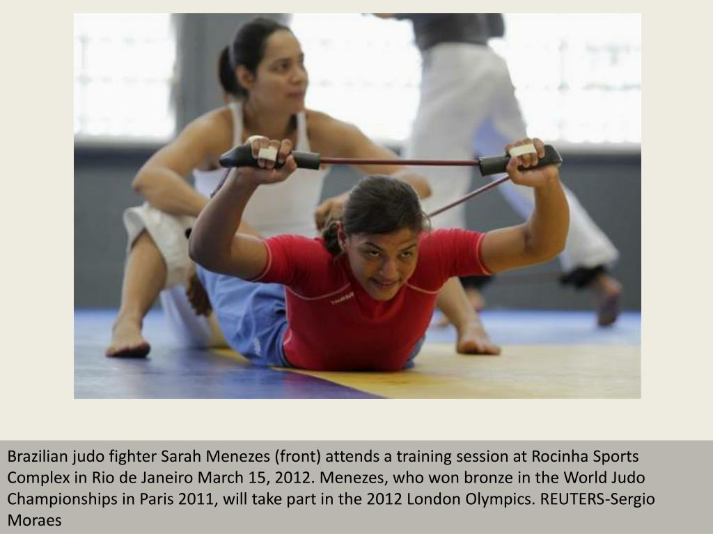 Brazilian judo fighter Sarah Menezes (front) attends a training session at Rocinha Sports Complex in Rio de Janeiro March 15, 2012. Menezes, who won bronze in the World Judo Championships in Paris 2011, will take part in the 2012 London Olympics. REUTERS-Sergio Moraes
